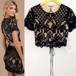 Tobi NWT Black Lace Forever Lace Crop Top